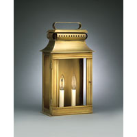Northeast Lantern Concord 2 Light Outdoor Wall Lantern in Antique Brass 5721R-AB-LT2-CLR