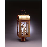 Adams 3 Light 22 inch Antique Brass Post Lantern in Clear Glass, No Chimney, Candelabra