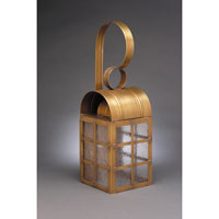 Adams 1 Light 18 inch Antique Brass Outdoor Wall Lantern in Seedy Marine Glass, Standard Scroll, Medium