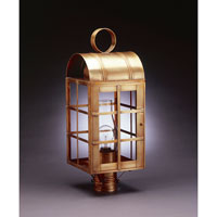 Adams 1 Light 22 inch Antique Brass Post Lantern in Clear Glass, Chimney, Medium