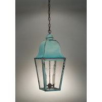 Imperial 2 Light 10 inch Verdi Gris Hanging Lantern Ceiling Light in Seedy Marine Glass