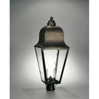 Imperial 3 Light 30 inch Dark Brass Post Lantern in Clear Seedy Glass