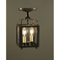Crown 2 Light 6 inch Dark Brass Flush Mount Ceiling Light in Clear Glass
