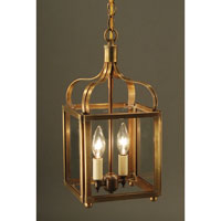Crown 2 Light 8 inch Antique Brass Hanging Lantern Ceiling Light in Clear Glass