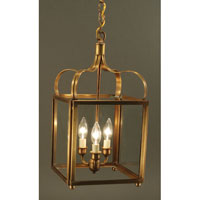 Crown 3 Light 10 inch Antique Brass Hanging Lantern Ceiling Light in Clear Glass