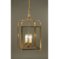 Crown 4 Light 13 inch Antique Brass Hanging Lantern Ceiling Light in Clear Glass