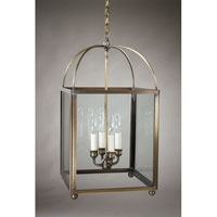 Signature 4 Light 13 inch Dark Antique Brass Chandelier Ceiling Light in Clear Glass