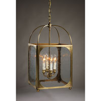 Signature 4 Light 13 inch Antique Brass Chandelier Ceiling Light in Clear Seedy Glass