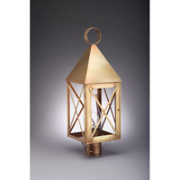 York 1 Light 25 inch Antique Brass Post Lantern in Clear Glass, Chimney, Medium