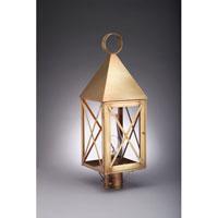 Northeast Lantern 7053-AB-CIM-CLR York 1 Light 25 inch Antique Brass Post Lantern in Clear Glass, Chimney, Medium