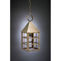 York 1 Light 6 inch Antique Brass Hanging Lantern Ceiling Light in Clear Glass