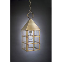 York 1 Light 7 inch Antique Brass Hanging Lantern Ceiling Light in Seedy Marine Glass, Medium