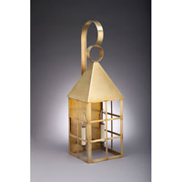 York 2 Light 27 inch Raw Brass Outdoor Wall Lantern in Clear Glass, No Chimney, Candelabra