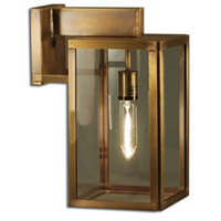 Midtown 1 Light 15 inch Dark Antique Brass Outdoor Wall Lantern in Clear Glass, Medium