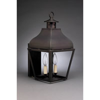 Stanfield 2 Light 18 inch Dark Brass Outdoor Wall Lantern in Clear Glass, Candelabra