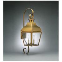 Northeast Lantern 7638-AB-LT2-SMG Stanfield 2 Light 27 inch Antique Brass Outdoor Wall Lantern in Seedy Marine Glass, No Chimney, Candelabra