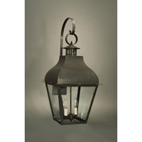 Stanfield 2 Light 30 inch Dark Brass Outdoor Wall Lantern in Clear Glass, No Chimney, Candelabra