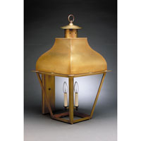 Stanfield 3 Light 30 inch Antique Brass Outdoor Wall Lantern in Clear Glass, No Chimney, Candelabra