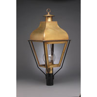 Stanfield 1 Light 32 inch Antique Brass Post Lantern in Clear Glass, Chimney, Medium