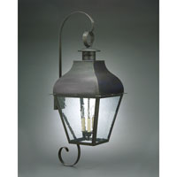 Stanfield 3 Light 40 inch Dark Brass Outdoor Wall Lantern in Clear Seedy Glass, No Chimney, Candelabra
