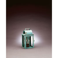 Livery 1 Light 11 inch Verdi Gris Outdoor Wall Lantern in Clear Glass