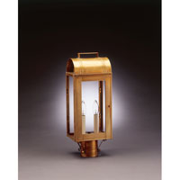 Livery 2 Light 19 inch Antique Brass Post Lantern in Clear Glass