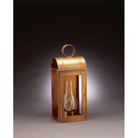 Livery 1 Light 18 inch Antique Brass Outdoor Wall Lantern in Clear Glass, Chimney, Medium