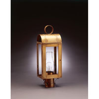 Livery 1 Light 21 inch Antique Brass Post Lantern in Clear Glass, Chimney, Medium