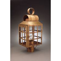 Lynn 1 Light 20 inch Antique Brass Post Lantern in Clear Glass, Chimney, Medium