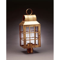 Lynn 1 Light 24 inch Antique Brass Post Lantern in Clear Glass, Chimney, Medium