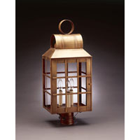 Lynn 3 Light 24 inch Antique Brass Post Lantern in Clear Glass, No Chimney, Candelabra