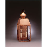 Woodcliffe 2 Light 23 inch Antique Copper Outdoor Wall Lantern in Clear Glass, No Chimney, Candelabra