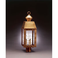 Woodcliffe 3 Light 26 inch Antique Brass Post Lantern in Clear Glass, No Chimney, Candelabra