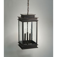 Empire 3 Light 9 inch Dark Brass Hanging Lantern Ceiling Light in Clear Seedy Glass