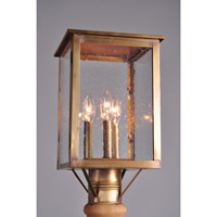 Ashford 3 Light 15 inch Antique Brass Post Mount in Clear Seedy Glass, No Chimney, Candelabra