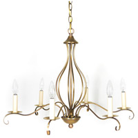 Signature 6 Light 27 inch Antique Brass Chandelier Ceiling Light