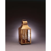 Livery 1 Light 16 inch Antique Brass Outdoor Wall Lantern in Clear Glass, Chimney, Medium