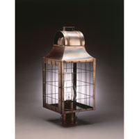 Livery 1 Light 23 inch Dark Antique Brass Post Lantern in Clear Glass, Chimney, Medium