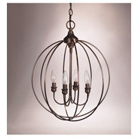 Signature 4 Light 17 inch Dark Antique Brass Chandelier Ceiling Light