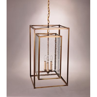 Transitional 3 Light 14 inch Antique Brass Pendant Ceiling Light in Clear Seedy Glass