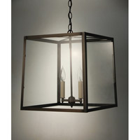 Transitional 2 Light 15 inch Dark Brass Pendant Ceiling Light in Clear Glass