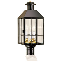 American Hertitage 3 Light 22 inch Black Outdoor Post Lantern in Clear