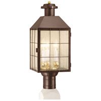 American Hertitage 3 Light 22 inch Bronze Outdoor Post Lantern in Seedy