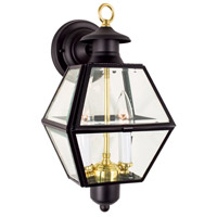 Olde Colony 2 Light 15 inch Black Outdoor Wall Lantern