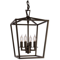Cage 4 Light 12 inch Bronze Pendant Ceiling Light, Small