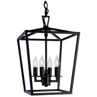 Cage 4 Light 12 inch Matte Black Pendant Ceiling Light, Small