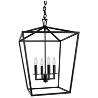 Cage 4 Light 18 inch Matte Black Pendant Ceiling Light, Medium