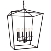 Cage 6 Light 24 inch Matte Black Pendant Ceiling Light, Large