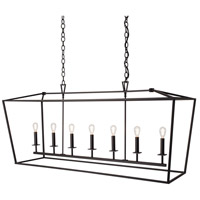 Cage 7 Light 18 inch Bronze Linear Pendant Ceiling Light, Linear