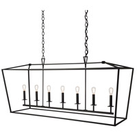 Cage 7 Light 18 inch Matte Black Linear Pendant Ceiling Light, Linear